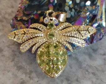Peridot Bee Pendant Necklace