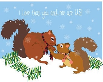 Love card - Squirrel card hand drawn - Cute anniversary card for husband - Love card for husband - Love card for him