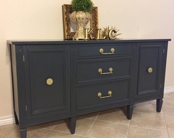 SOLD ** Hand Painted | MCM | Media Cabinet | Entertainment Center | Buffet | Sideboard | Entry | Dresser