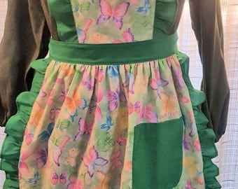 Apron - with bib - Green/Green Butterflies