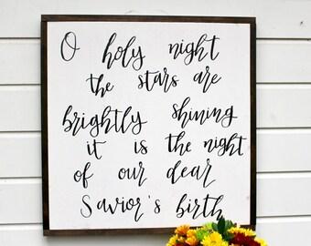 O Holy Night | Framed Wooden Sign