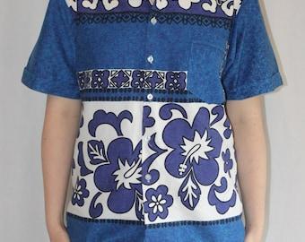 Fijian holiday / blue summer shirt / classic surfer button up