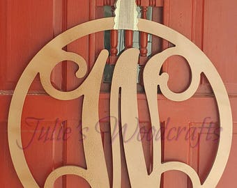 Initial Door Hanger or Wall Decor - Wooden Circle Monogram with Script Initial
