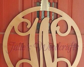 Initial Door Hanger or Wall Decor - Wooden Circle Monogram with Script Initial
