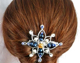 Floral Hair Clip Flower Hair Clip bridal hair clip wedding hair piece bridal hair piece bridesmaid hair silver hair clip freshwater pearl