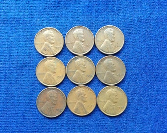 1936 Lincoln Wheat Pennies Old US Coins Coin Collecting Lot of 9