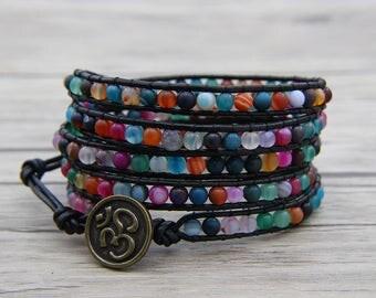 Bead leather wrap bracelet Rainbow agate bead bracelet BOHO bead wrap bracelet 4mm bead bracelet OM Charm bracelet Birthday Gift SL-0551