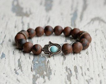 beads bracelet hamsa good luck bracelet for men hamsa hand bracelets brown bracelet gift for boyfriend buddhism jewelry meditation obsidian