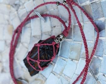 Spellbound - Black Tourmaline Macrame Hemp Necklace