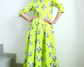 Maxi Dress / Neon Maxi Dress With Floral Print  by FabraModaStudio / D124