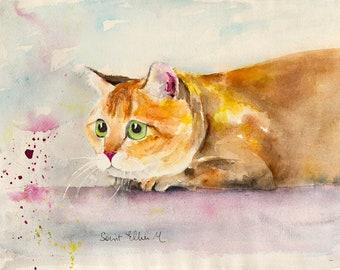 "Scottish straight cat  original painting -  original watercolor  of a scottish straight ginger cat - pet art - cat art - 10"" x 14"""