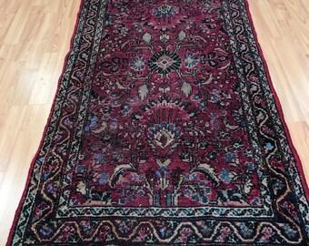 """2'4"""" x 4'7"""" Antique Persian Lilihan Sarouk Oriental Rug - 1930s - Hand Made - 100% Wool"""