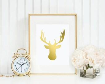 Gold Foil Print, Modern Deer Head, Home Decor, Gold Foil, Print, Bedroom Decor, Rustic Baby Nursery Decor, Rustic meets Modern, Silver Foil