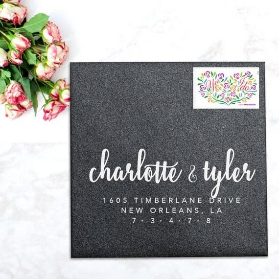 Calligraphy Address Stamp Rsvp Wedding Stamp Wedding