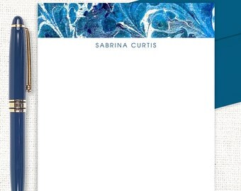 personalized notePAD - vintage marble paper SABRINA BLUE - stationary - custom notepad - abstract art - couples stationery