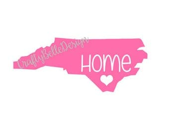 North Carolina Home State Decal with Heart   NC Home Decal   Yeti Decal   Cooler Decal   Tumbler Decal   Notebook Decal   Car Decal   Vinyl