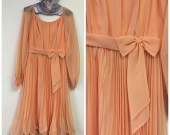 1960's Peach Chiffon Party Dress