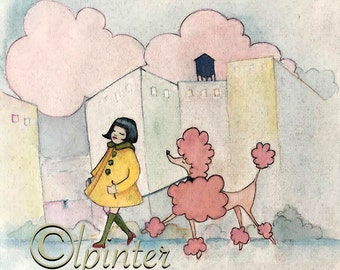 Pink Poodle- watercolor poodle nursery print