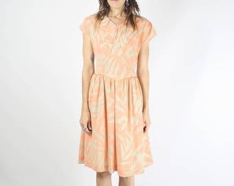 Vintage 80s Summer dress, Apricot Neon Taupe Double collar Cut out Bow back Party dress Retro 1980s Day dress Bright Fun, Small #3