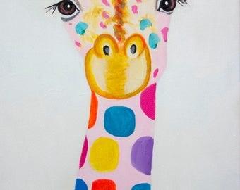 Giraffe Acrylic Painting, Giraffe Art, Free Shipping Worlwide