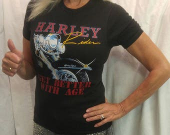 1980s Vintage HARLEY-DAVIDSON T-shirt with front and back printing size Small