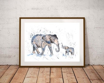 SALE Elephant family PRINT, elephant family, elephant art, watercolour painting, elephant lover gift, watercolour animal print