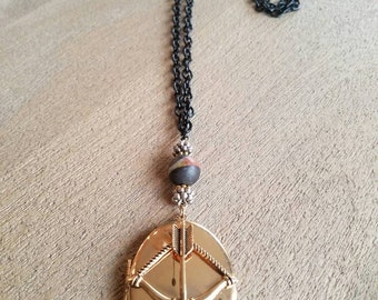 Arrow Locket on Black Chain Necklace (#11)