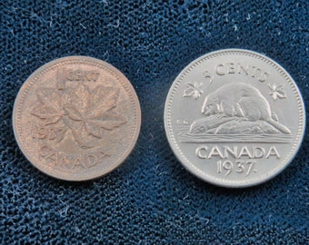Canada 1937 Small Cent and 1937 Dot Five Cent Coins.