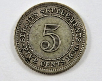 Straits Settlements 1926 Silver 5 Cents Coin.