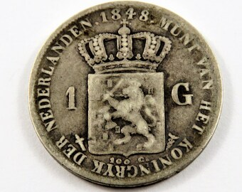 Netherlands 1848 Silver One Gulden Coin.