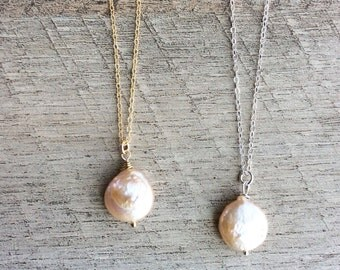 Freshwater Pearl Coin Necklace, Short Necklace, Pendant Necklace, Pearl Necklace, Layer Necklace, Rustic Modern Jewelry, Free Ship U.S.