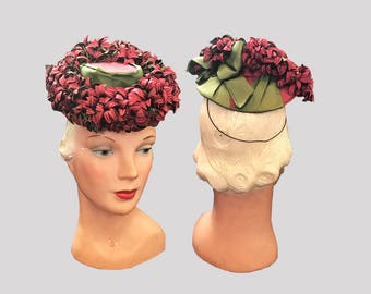 reduced 1940s Cranberry Flowers Tilt Hat Germaine Montabert