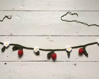 Hand Knitted Strawberry Blossom Bunting, Strawberry Garland