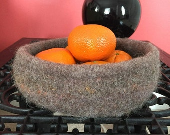 "Wool Bowl, Hand-Knit and Felted in ""Muckeldy-Dun"""