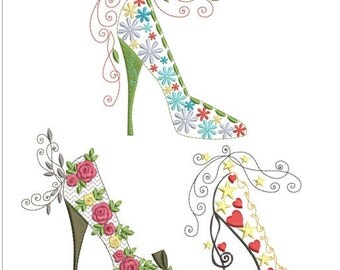 "Pretty high heel shoes machine embroidery download 3 different designs (6x6"")"