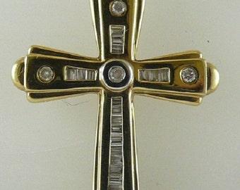 Diamond 0.34ct Cross Pendant 14k Yellow Gold