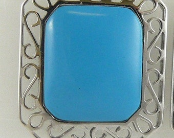 Turquoise Earring 13.5mm x 11.2mm 14K White Gold