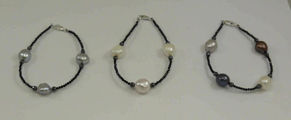 Freshwater Multi-Color Pearl, Spinel & Hematite Bracelet, Sterling Silver Clasp
