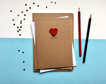 Love you card - Card for girlfriend - card for boyfriend - Card for husband - Card for wife - Valentines card - anniversary card
