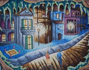 Original oil painting, Street Light Delight 2