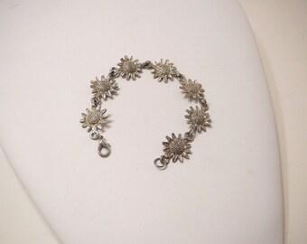 Vintage Silver Plated Sunflower Link Bracelet, w/ Seven Sun Flowers