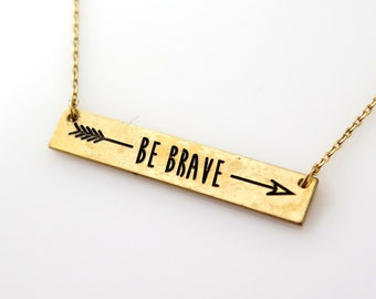 Gold Bar Necklace, Be Brave Gold Bar Necklace, Arrow Necklace, Gold Arrow Necklace, Gold Necklace
