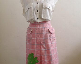 Vintage pink checkered A-line pleated skirt