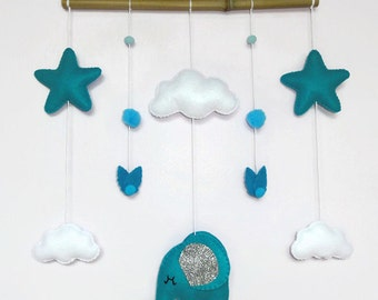 baby mobile or wall decoration . baby crib mobile or room decoration . elephant's dream, cloud, stars  felt mobile