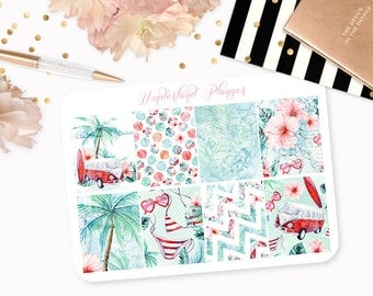 Vintage Summer - Beach Themed Planner Stickers // Full Box Designs // Perfect for Erin Condren Vertical Life Planner