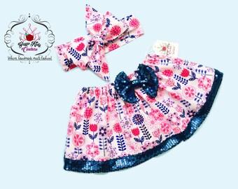 Floral Over The Top Crop Top Set, Crop Top, Headwrap,Girls Crop top, Baby Crop Top Set,Baby Crop Top