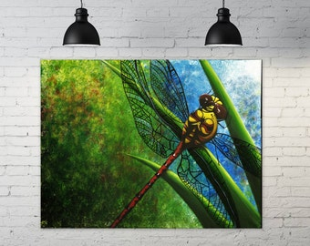 """Dragonfly - 18x24"""" acrylic painting"""