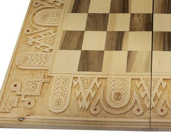 3 in1 Chess set wood with figures Chess board wooden Checker board Wooden chess board Travel chess Husband gift Boyfriend gift Men's gift
