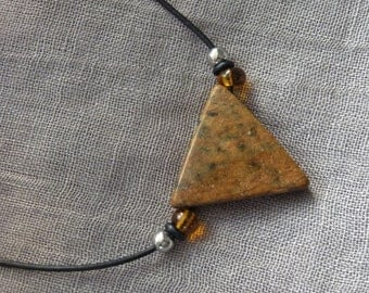 Necklace soapstone - triangle - Brown - gift -.
