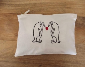 Natural Embroidery Penguin Couple Love Heart Purse/Clutch/Make-Up Bag